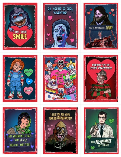 Image of READ DESCRIPTION! 80's Horror Valentine's Day Card Pack (2016)