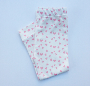 Image of ORGANIC COTTON Pink + white MINI HEART CUFFED LEGGINGS