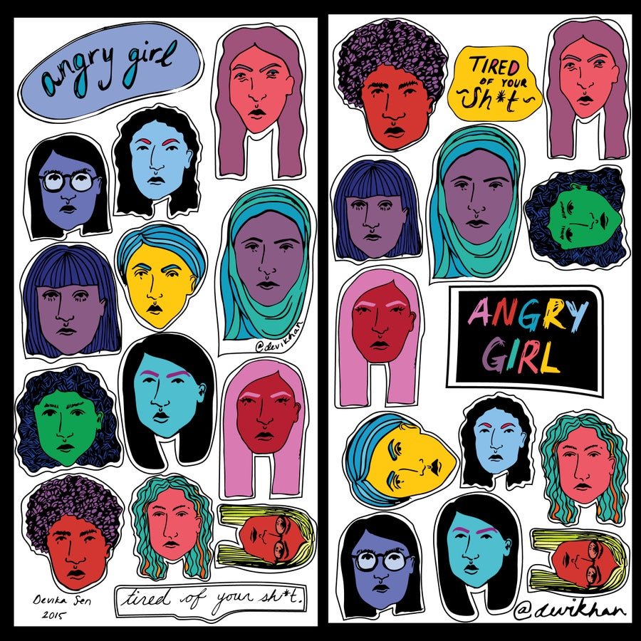 Image of Angry Girl Sticker Sheets