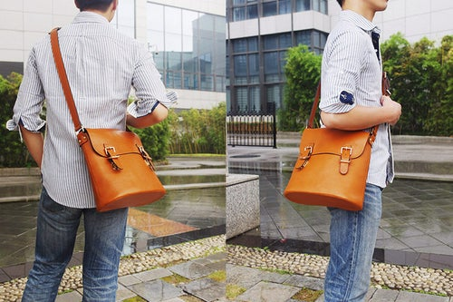 Image of Handmade Vegetable Tanned Italian Leather Messenger Bag Satchel Bag Crossbody Shoulder Bag D043