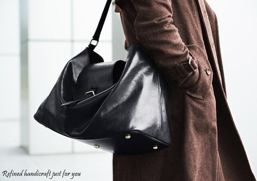 Image of Custom Handmade Vegetable Tanned Italian Leather Tote Bag Shoulder Bag Women Handbag D047