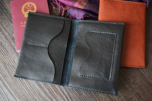 Image of Custom Handmade Vegetable Tanned Italian Leather Passport Holder Wallet Clutch D050