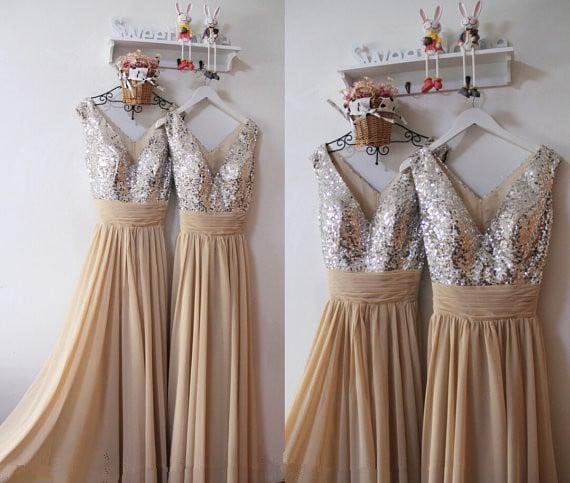Elegant Champagne V-neckline Prom Dresses, Bridesmaid Dresses, Party Dresses