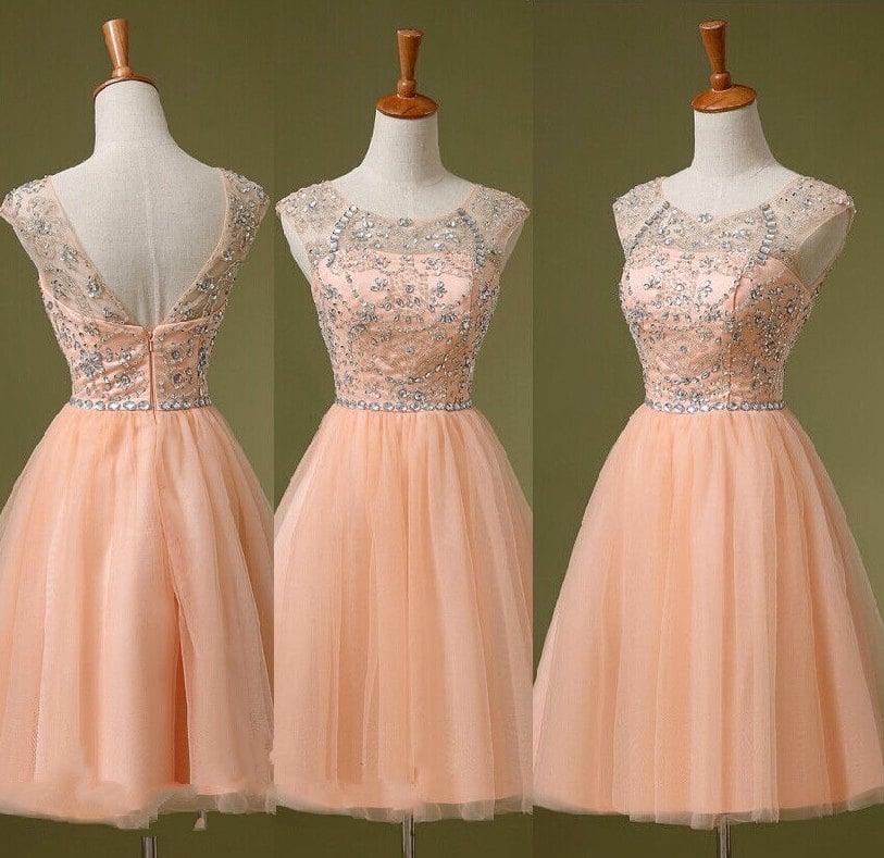 Lovely Light Pink Tulle Beaded Short Prom Dresses , Homecoming Dresses