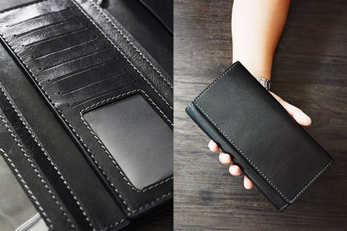 Image of Custom Handmade Vegetable Tanned Italian Leather Wallet Long Wallet Money Purse Card Holder D051