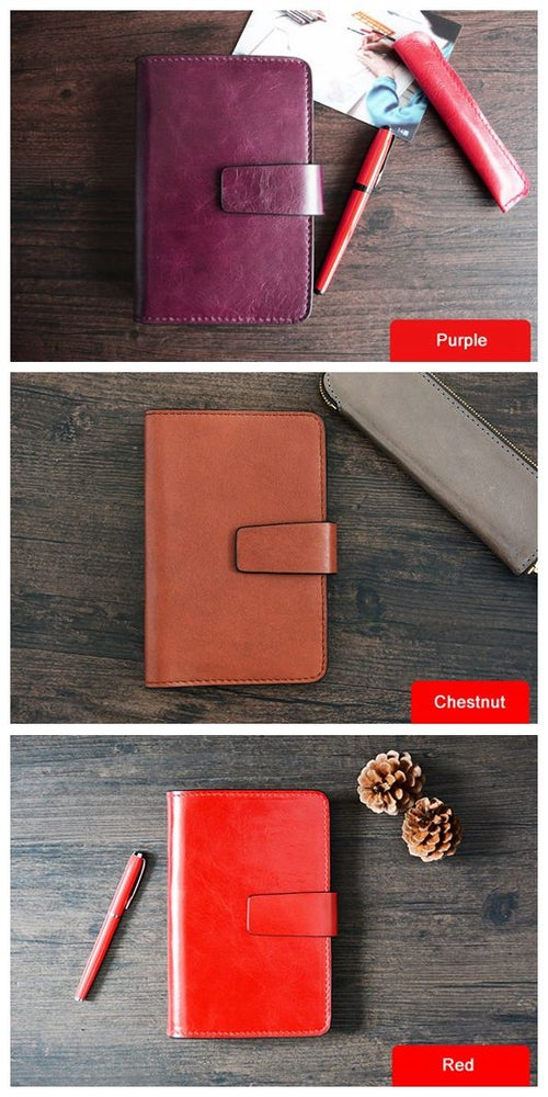 Image of Custom Handmade Vegetable Tanned Italian Leather A6 Notebook Journal Book D054