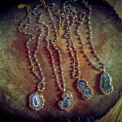 Image of Stalactite slice necklace with Labradorite wire beaded rosary chain