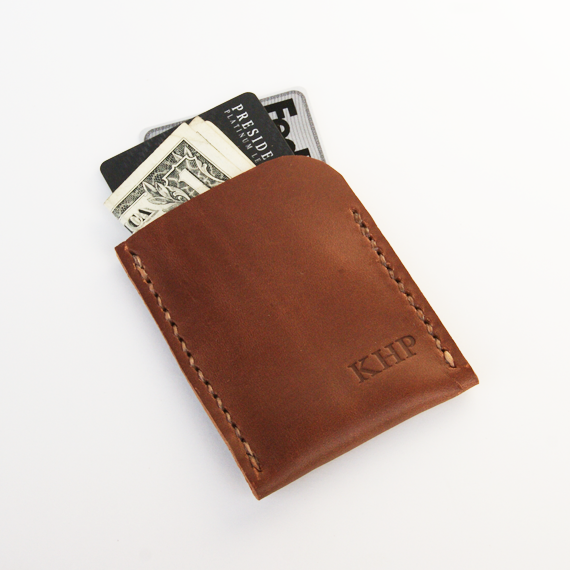 Image of Brown Leather Wallet / Miminalist Card Sleeve