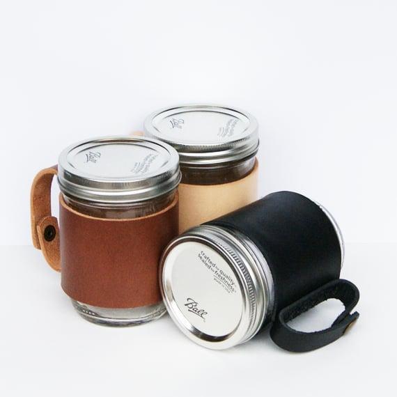 Image of Leather Mason Jar Sleeve with Mason Jar