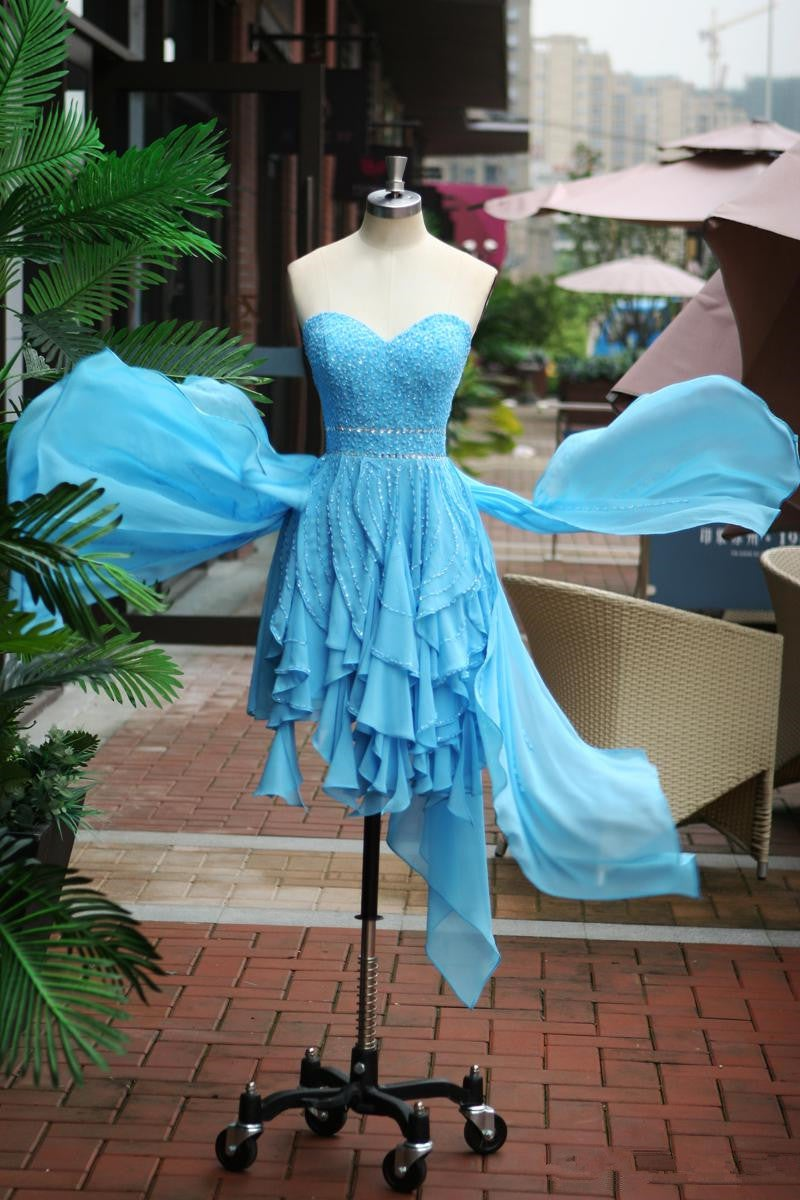 Lovely Cute Blue High Low Beaded Prom Dress , Prom Dresses , Homecoming Dresses