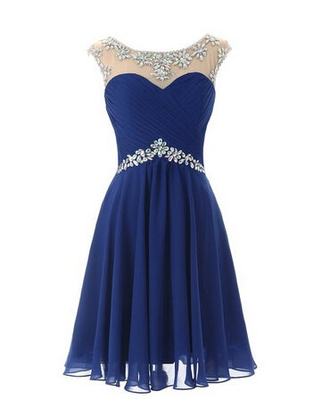 Lovely Short Beaded Chiffon Round Neckline Prom Dresses, Short Prom Dresses, Graduation Dresses