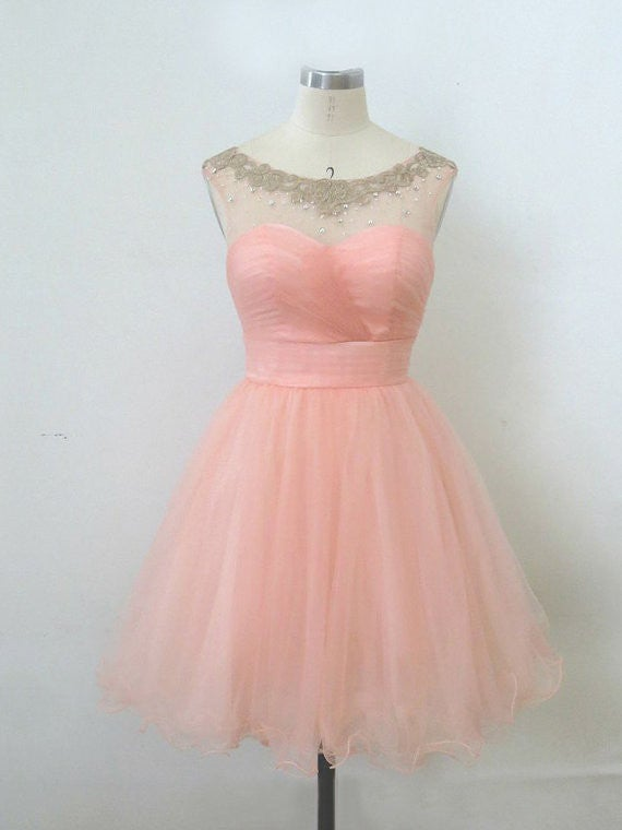Lovely Pink Short Ball Gown Tulle Prom Dresses, Homecoming Dresses