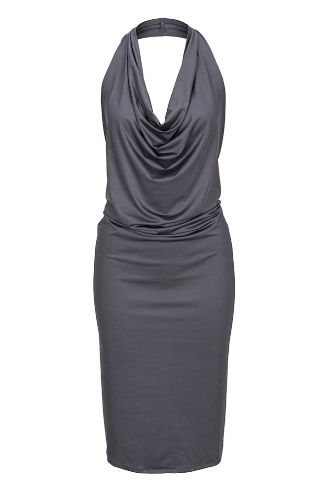 Image of A2000 Ladies Charcoal cowl neck apron