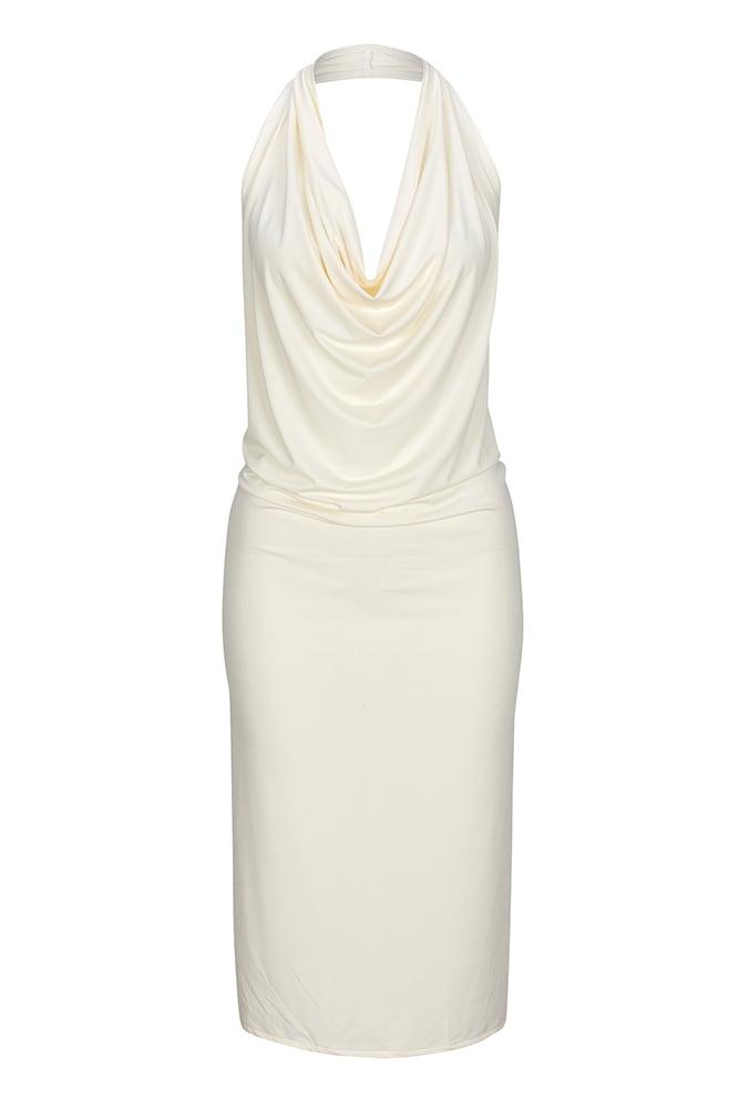 Image of A3000 Ladies Cream cowl neck apron