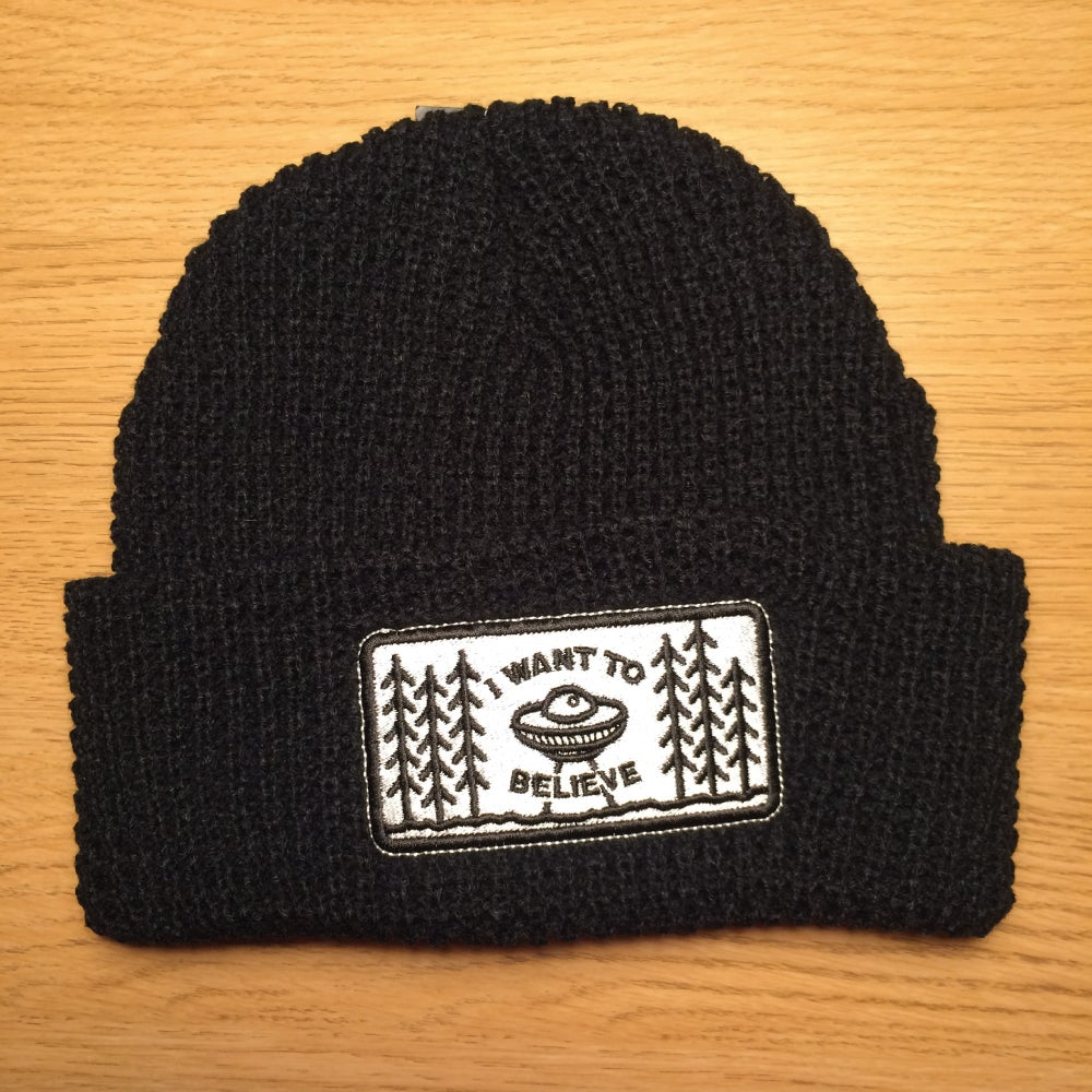 Image of I Want To Believe Beanie (Black/Navy)