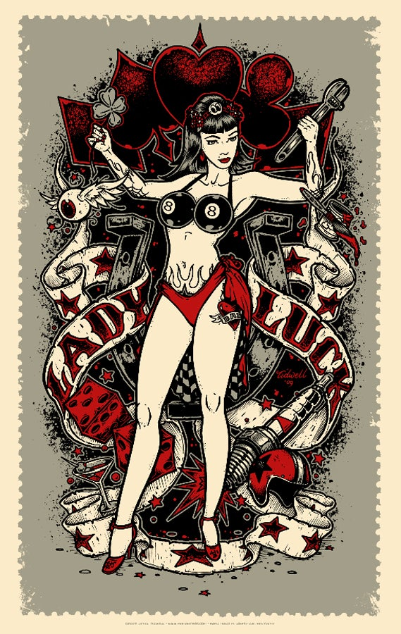 Image of Lady Luck • Red Art Print (Regular Edition)