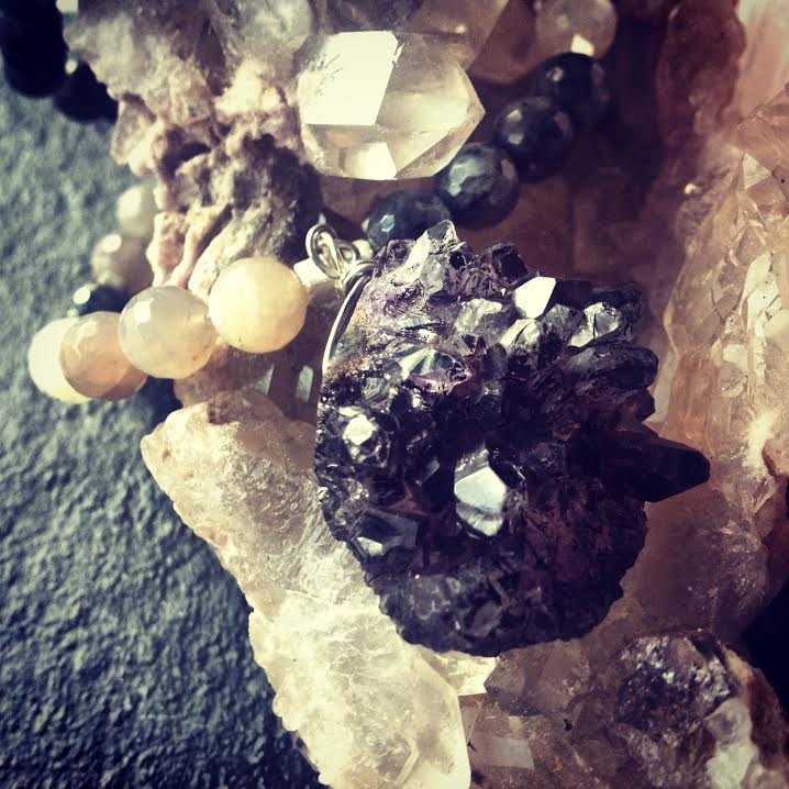 Protection Of The Goddess ~Raw Druzy Black Amethyst and Moonstone and Black  Opal