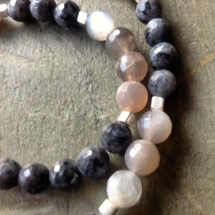 Image of Protection Of The Goddess ~Raw Druzy Black Amethyst and Moonstone and Black Opal