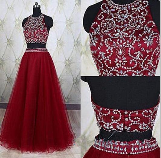 Sparkle Burgundy Two Piece Prom Dresses, Prom Dresses, Dresses