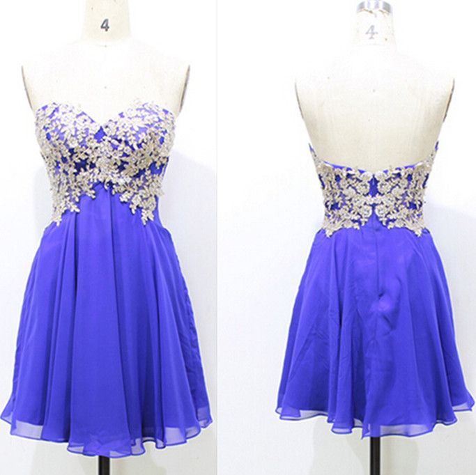 Beautiful Royal Blue Short Prom Gown , Prom Dresses