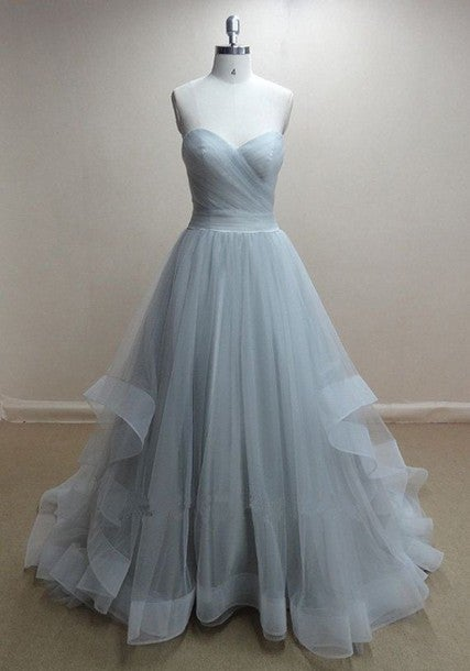 Charming Grey Tulle Prom Gown , Prom Dresses 2017, Evening Dresses