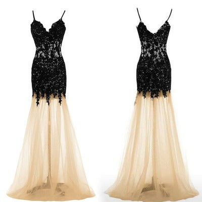 Elegant Champagne Long Prom Gown with Black Lace Appliques