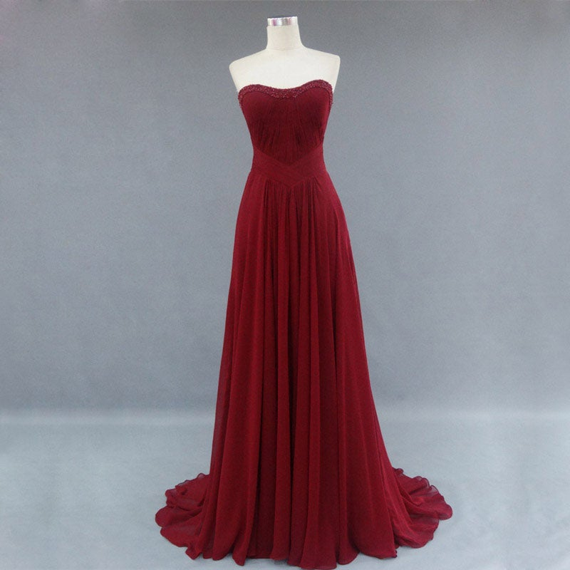 Beautiful Burgundy Simple Chiffon Prom Dresses , Prom Gowns