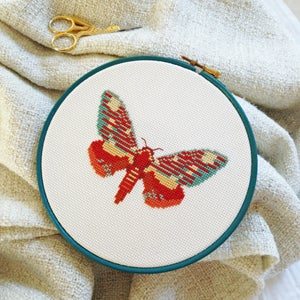 Image of Orange Moth cross-stitch PDF pattern