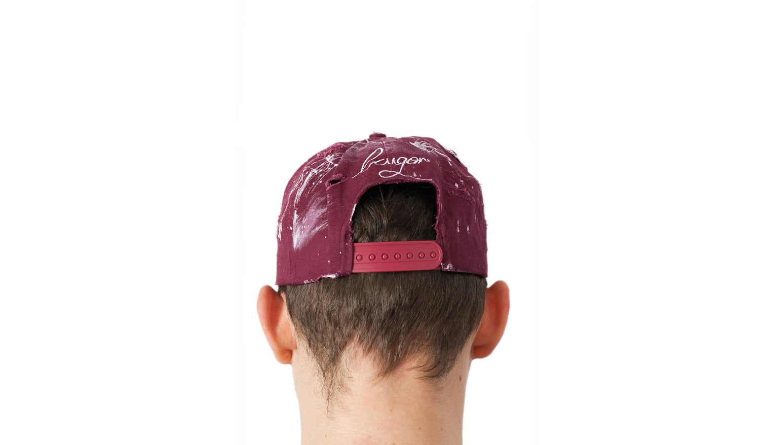 Image of Burgundy Distressed Painter's cap