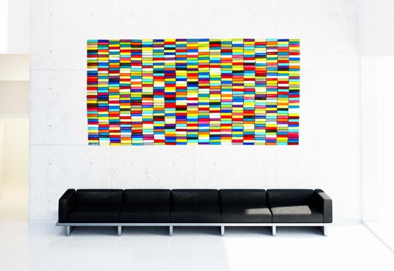 Image of 'ROLLS OF COLOR' | Original Assemblage Abstract Wall Sculpture