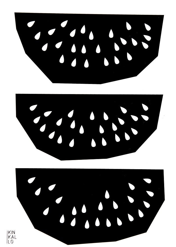 Image of Watermelon, poster black and white