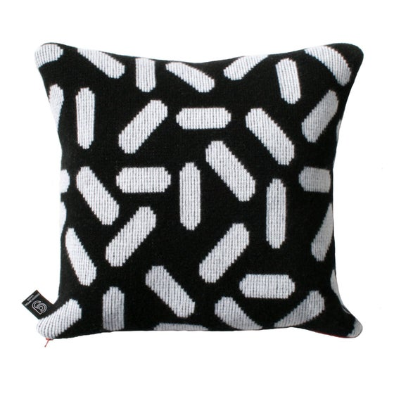 Image of Tic tac cushion in black and white