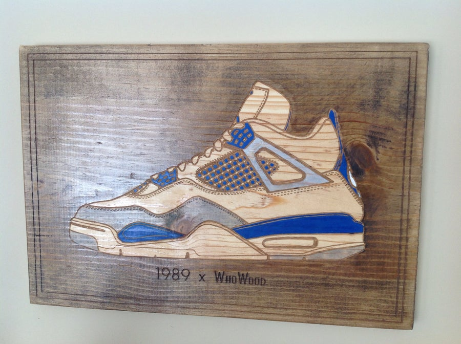 "Image of WhoWood™ x 1989 ""Sneaker Art"" Wood Poster - Military Blue"