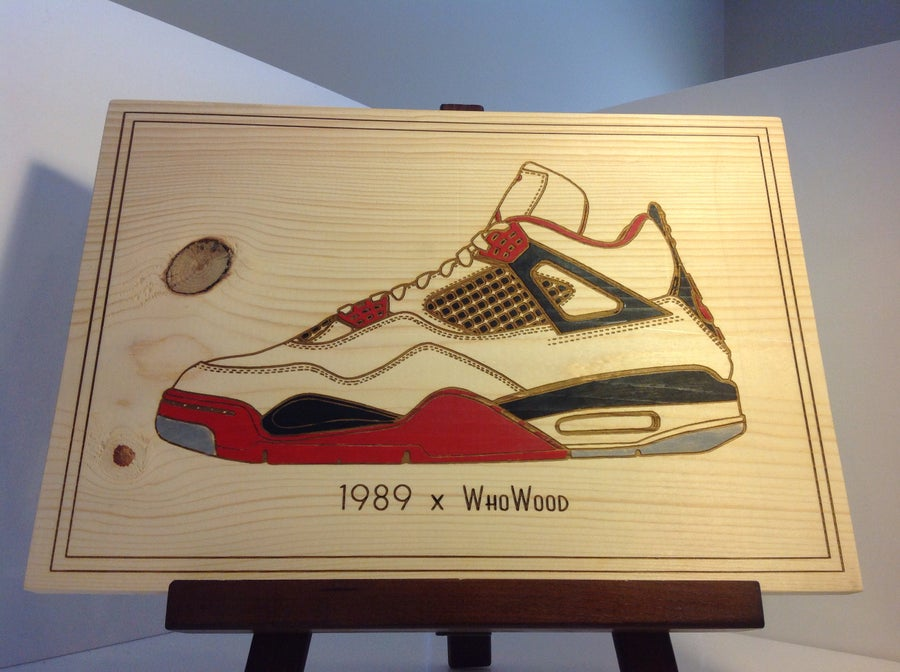 "Image of WhoWood™ x 1989 ""Sneaker Art"" Wood Poster - Fire Red"