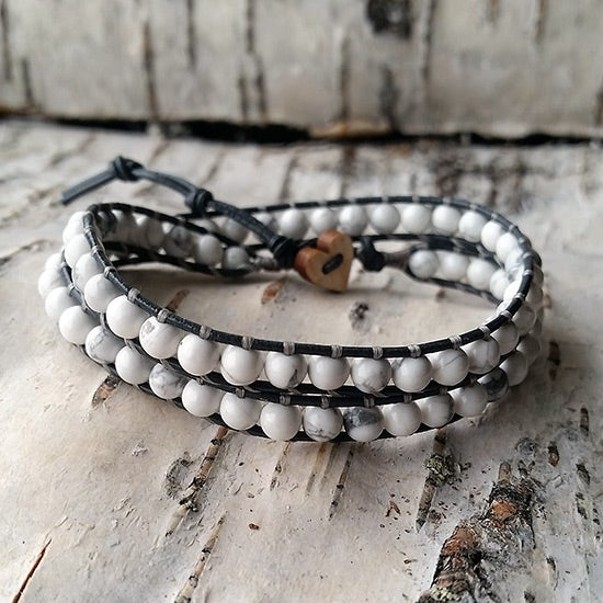 Image of White Howlite Beads on Grey Leather Double Wrap Bracelet