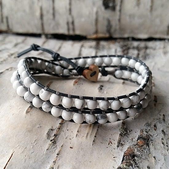 Image of White Howlite Beads on Grey Leather Double Wrap Bracelet