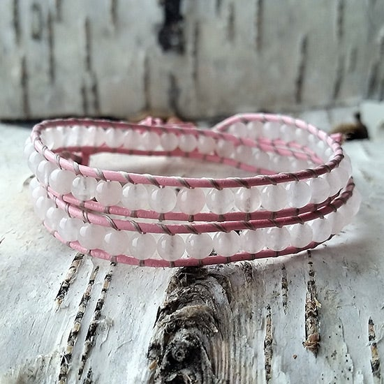 Image of Rose Quartz Beads on Pink Leather Double Wrap Bracelet (W-RQPk-05)