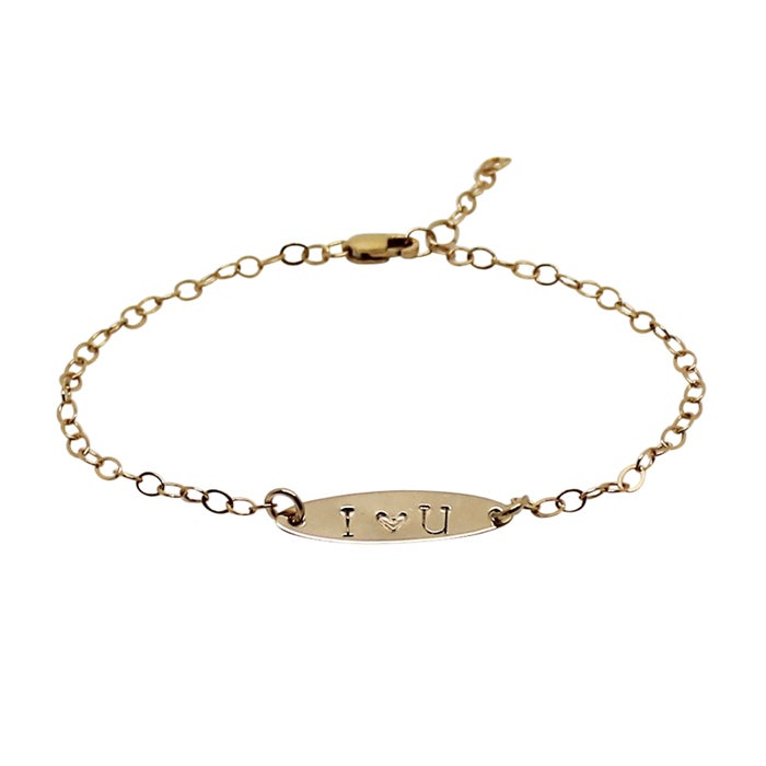 Image of Personalised 18ct gold filled oval bracelet