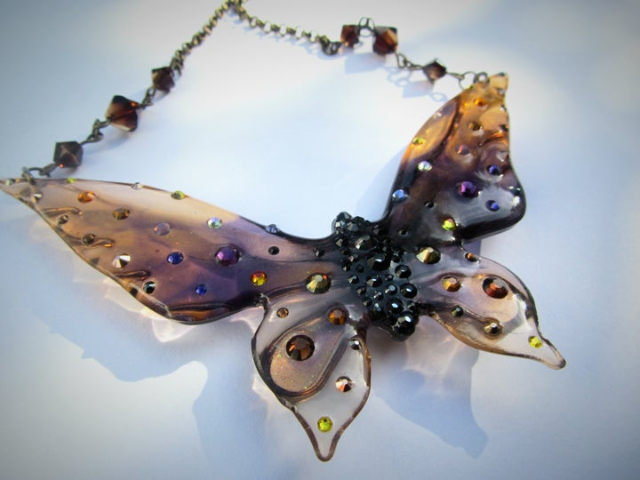 Image of Autumnal Large Butterfly Resin Necklace