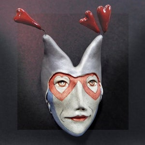 Image of An Abundance of Riches - Mask Sculpture, Ceramic Art, Porcelain Face, Art to Wear