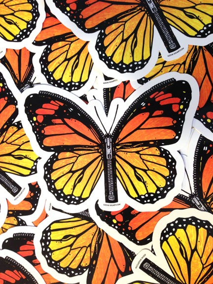 Image of Zipper Butterfly Die Cut Vinyl Sticker