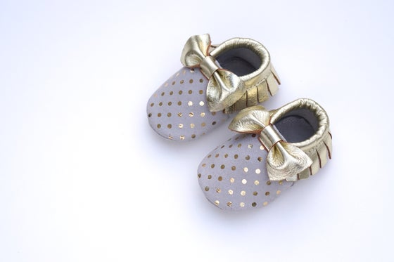 Image of Gold Polka Dot Bow Moccasins