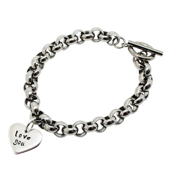 Image of Personalised sterling silver love heart chunky bracelet