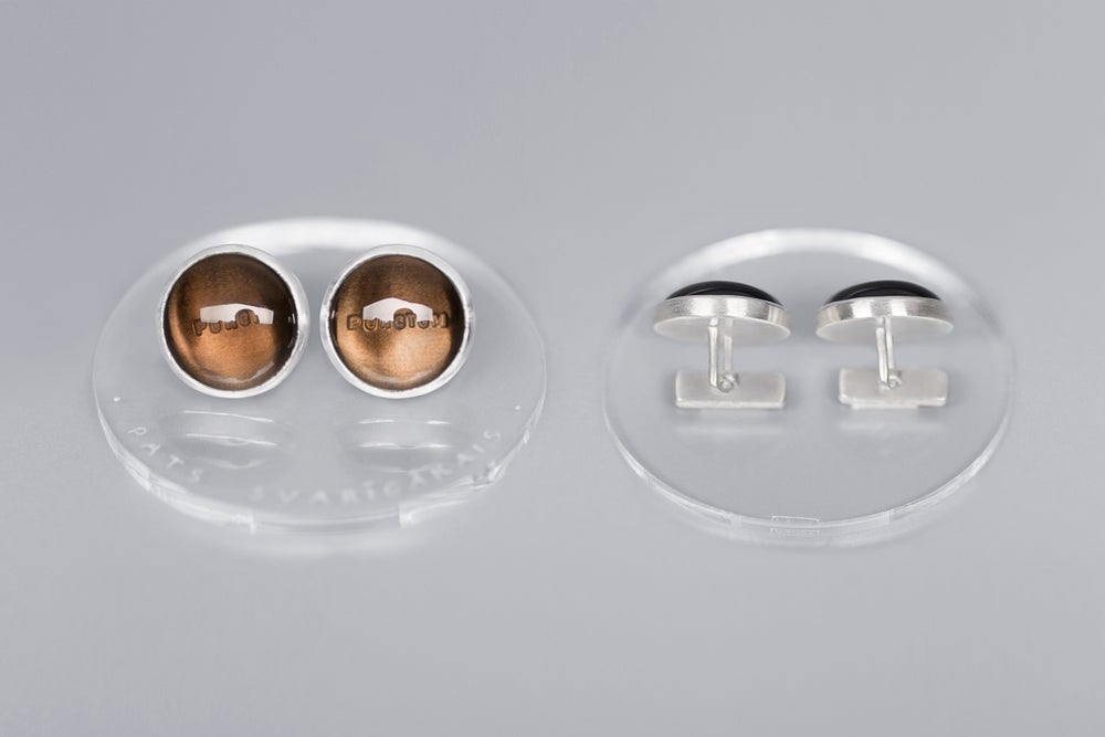 Image of cufflinks with smoky quartz PUNCTUM PUNCTI
