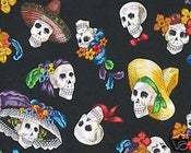 Image of FF Day of the Dead Fabric Catrina Posada Artwork