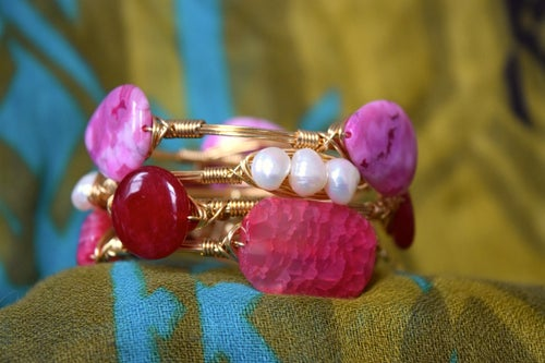 Image of Cracked Pink Agate Bangle