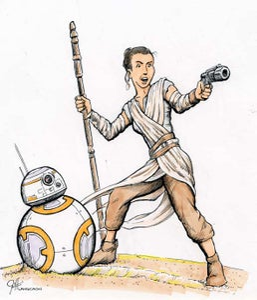 Image of Star Wars - Rey and BB-8 - Original Art