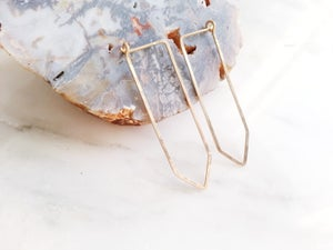 Image of Hammered Quartz Hoops - 14kt Gold Filled or .925 Sterling Silver