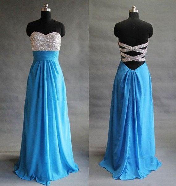 Pretty Handmade Blue Sequins Prom Dresses , Blue Prom Dresses