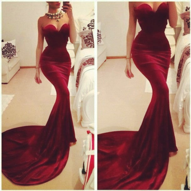 Sexy Burgundy Wine Red Prom Dress, Mermaid Prom Gowns,Prom Dresses 2016